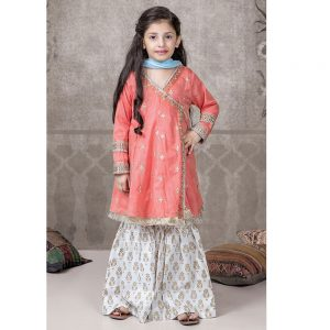 Maria B Linen Winter Kids Embroidered Dress