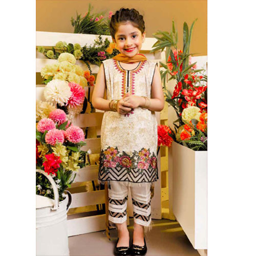 Charizma Linen Winter Kids Embroidered Dress
