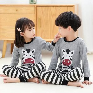 Kids Nightwear Suit Baby Grey Zebra Printed