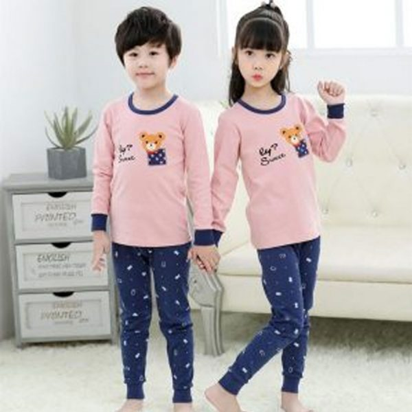 Kids Nightwear Suit Baby Pink And Blue Bear Printed