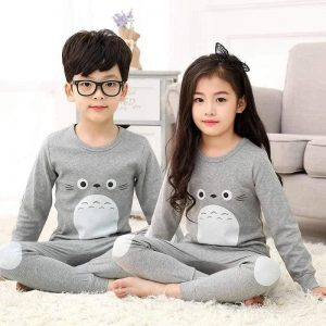 Kids Nightwear Suit Baby Grey Penguin Printed