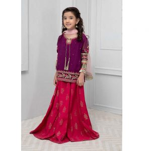 Maria.B Baby Girl Chiffon Party Wear Dress Master Replica